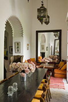 Riad Kitula Riad Marrakech Morocco by BEST RIADS. I love the mirror and the archway detail. Riad Essaouira, Riad Marrakech, Decoration Inspiration, Room Inspiration, Interior Inspiration, Moroccan Design, Moroccan Decor, Moroccan Style, Home Design