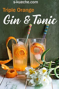 Triple Orange Gin & Tonic – Fruchtiger Cocktail zur Gin o'Clock Recipe for Triple Orange Gin & Tonic, a light long drink that is particularly fruity, with a slight bitterness and that fits all year round – cocktail, aperitif Gin & Tonic Cocktails, Fruity Cocktails, Non Alcoholic Drinks, Gin And Tonic, Drinks Alcohol, Cocktail Fruit, Cocktail Shots, Gin Cocktail Recipes, Le Gin