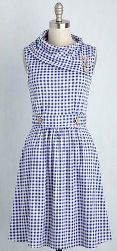 darling blue gingham picnic dress