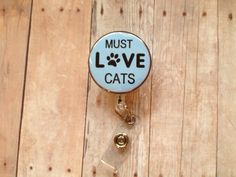 Cat - Paw Heart Print - Retractable Name ID Badge Holder Badge Reel - Pet on Etsy, $5.90