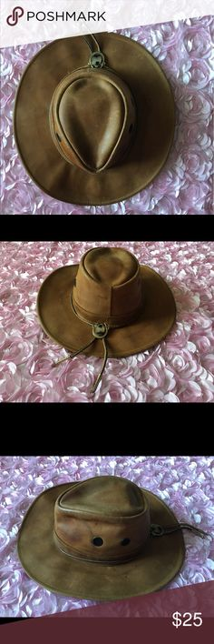 Vintage leather safari style hat Beautifully worn leather and suede hat  henschel hat co Accessories Hats 903dc2ca8023