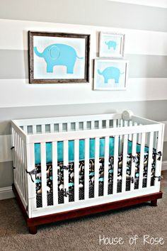 grey and white elephant nursery
