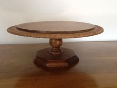 "Vintage Wooden Cake Stand Carved Edge Hand Crafted by TandysTrove, $42.00 This is 12""in diameter. The glas dome on this page is 10"" and was made for a 12"" base."