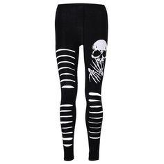 Banned Slashed Skull Leggings Black ($26) ❤ liked on Polyvore featuring pants, leggings, bottoms, jeans, jeans/pants, skull print leggings, legging pants, skull leggings, slashed leggings and skull pants