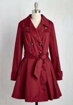 In a Classy of Its Own Coat. Layer your look with this pocketed, lipstick-red trench from Nick  Mo to show the world your stand-out style! #red #modcloth
