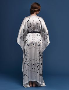 Meng luxury bridal loungewear - Cherry Blossom print silk satin v neck wrap - white Kimono Dress, Neck Wrap, Silk Satin, Dress Making, Lounge Wear, Women Wear, Cherry Blossom, Prints, How To Wear