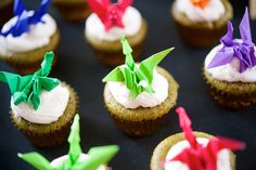 origami dragon cupcake toppers! via OffBeatBride