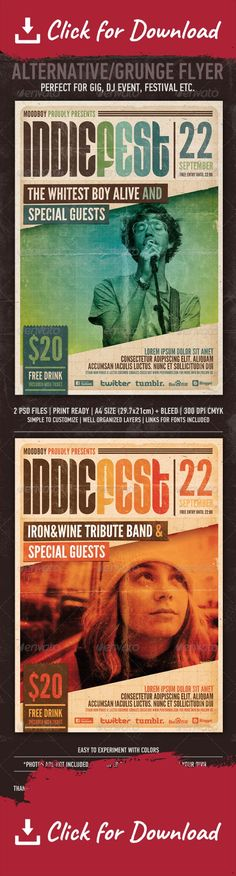 "a4, advertise, blue, concert, disco, dj, electro, event, fest, flyer, gig, green, grunge, hipster, indie, modern, old paper, orange, party, photo, pop, poster, print, psd, punk, retro, rock, urban, vintage ""Indie Fest Flyer/Poster"" – This flyer/poster was designed to promote music event, such as a gig, concert, festival, dj set etc. This poster can also be used for a new album promotion or other advertising purposes. 2 Psd Files Print Ready A4 Size / 21×29,7 cm + 5mm ..."
