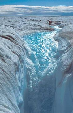 Jakobshavn Glacier: In the summer, increased temperatures cause melt ice to form lakes and rivers on the surface of the glacier. The water flows into deep vertical shafts in the ice called moulins. #Beautiful #Places #Photography