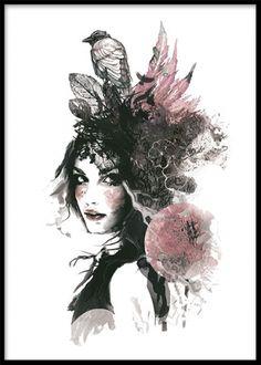 Cool poster / tavla med attityd. Snygga planscher i grått svart och rosa. Kvinna med fågel på huvudet. Köp tavlor online. www.desenio.se