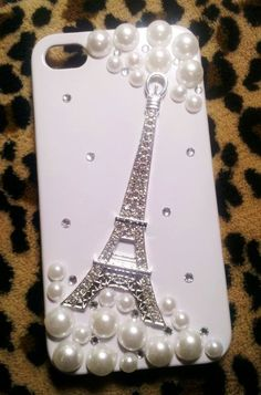 Diy Handmade Lace Pearl Phone Case W. Sparkling French Eiffel Tower (White).