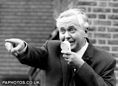 Labour Party Leader Harold Wilson talks into a microphpone during a campaign tour of London constituences - 1 October 1964 Political Leaders, Politics, Harold Wilson, First Prime Minister, Social Class, British Prime Ministers, Labour Party, Civil Rights Movement, Working Class