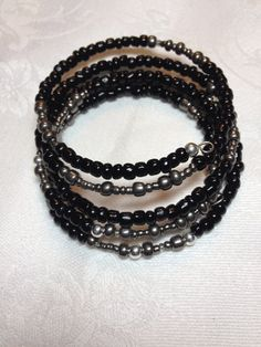 Black and Gun Metal Memory Wire Bracelet Wraps 5X Glass Beads $12.00 Etsy