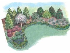 Eplans Landscape Plan: This naturalistic berm is planted with a season-spanning design that can transform a suburban yard into a quiet haven. The berm rises to three feet high tall enough to make you forget that your neighbor