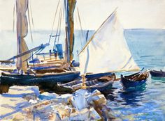 The Athenaeum - Boats on Lake Garda (John Singer Sargent - )