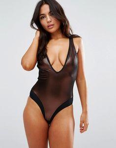 50d83206e3 Discover Fashion Online Floral One Piece Swimsuit, Sheer Swimsuit, Plunging One  Piece Swimsuit,