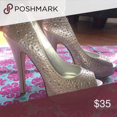 """D Heart Heels Beautiful silver D Heart high heels. Heel measures 5"""". Size 8.5. Never worn, except once around the house. Perfect condition, just too big for me. No box. D Heart Shoes Heels"""