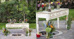 mason jar ideas - mason jar vases via Boho Weddings, photo by Lace Hanky Photography