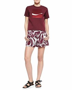 Embroidered-Square Crew Sweater and Hibiscus Printed Midi Shorts by Marc Jacobs at Neiman Marcus.