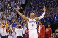 Russell Westbrook (0) during Game 2 of the Western Conference semifinals in the NBA playoffs between the Oklahoma City Thunder and the Los Angeles Clippers at Chesapeake Energy Arena in Oklahoma City, Wednesday, May 7, 2014. Photo by Bryan Terry, The Oklahoman