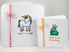 Copic note cards using the Lawn Fawn - Critters Ever After stamp set.  Made by Kelli