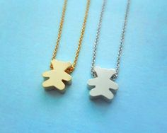 Lovely, Cute, Teddy Bear, Gold/Silver Plated, Necklace | simplecrystal - Jewelry on ArtFire