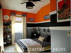 Orange, Gray, and Black Geometric Bedroom.  Like the walls.