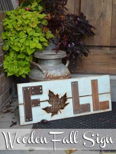 Celebrate and decorate for the cooler temps and changing leafs of Fall with a DIY wooden fall sign, full tutorial and plans. Fun Diy Crafts, Wood Crafts, Wooden Diy, Wooden Signs, Wooden Fall Decor, Wooden Fence, Painted Signs, Hand Painted, Fall Halloween