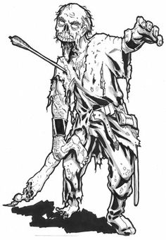 Scary Coloring Pages For Adults | Advanced Zombie Image #1 | Advanced Zombie Image #2