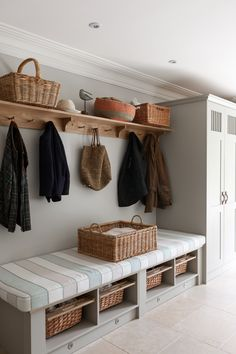 hallway storage or bootroom storage solution with comfy bench, coat hooks and storage cupboard custom built by mowlem & co .with these boot room ideas Boot Room Utility, Utility Room Ideas, Cupboard Storage, Boot Room Storage, Storage Baskets, Hallway Storage Bench, Entryway Bench, Hall Storage Ideas, Coat And Shoe Storage