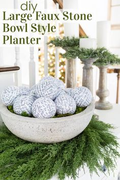 How to make 2 plastic bowls look like like one large heavy bowl style planter that looks like cast stone or cement. It is a very easy DIY done with basic materials.  No concrete or messy mixing needed! Stone Planters, Diy Planters, Ceramic Planters, Front Door Christmas Decorations, Christmas Front Doors, Christmas Ideas, Christmas Crafts, Christmas Ornaments, Concrete Bowl