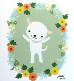 "Puppy Dog Illustration Print Nursery Art Cute White Dog 5"" x 7"" print by mikaart, $11.99"