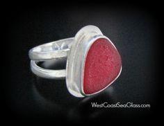 Rare Red Sea Glass Ring