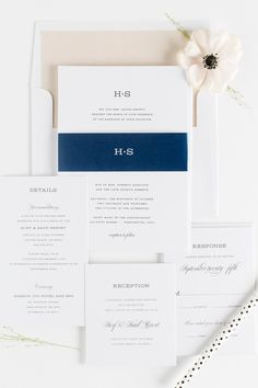 Garden Wedding Invitations in champagne and navy