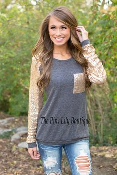 USE DISC. CODE: REPAMIE10 TO SAVE! Charcoal Sequin Sleeve Blouse