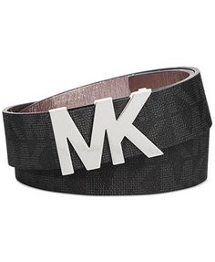 43ce1e09b36 MICHAEL Michael Kors Signature Belt with MK Logo Plaque & Reviews -  Handbags & Accessories - Macy's