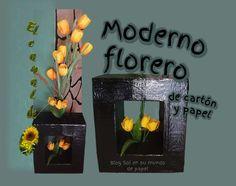 SOL EN SU MUNDO DE PAPEL: Moderno florero de cartón y papel