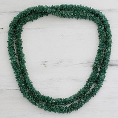 Aventurine long beaded necklace, 'In Ivy' - Aventurine long beaded necklace