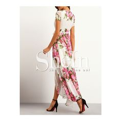SheIn(sheinside) White Floral Print Wrap Maxi Dress (41 AUD) ❤ liked on Polyvore featuring dresses, floral pattern dress, white maxi dress, flower print dress, flower pattern dress and white dress