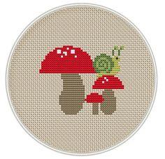 Snail and mushroom Cross stitch pattern, Counted cross stitch pattern, Instant Download, Free shipping, Cross-Stitch PDF, MCS061