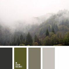 бледно-серый, оливковый, оттенки зеленого, палитра для зимы 2016, подбор цвета, серый, тёмно-зелёный, цвет зимнего тумана, цвет тумана в горах, цвета тумана, цвета туманного леса, цветовое сочетание для зимы.