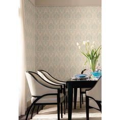 Riverside Park Collection from York Wallcoverings. Blue and Beige Damask Wallpaper. Great pattern for a dining room. Wallpaper Manufacturers, Riverside Park, Avenue Design, Damask Wallpaper, Dining Chairs, Dining Room, Accent Chairs, House Design, Fabric