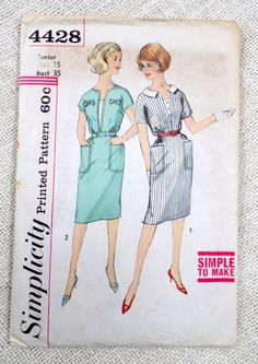 Vintage Pattern Simplicity 4428 dress sewing Fitted Bodice