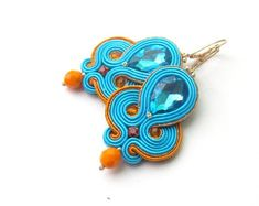 Fashion Turquoise Orange Dangle Earrings - Handmade Soutache Earrings with Crystals