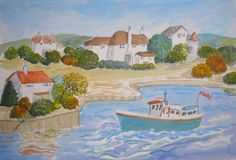 Happy Harbour. Boat, houses harbour scene Original art Naive style acrylic, make an offer or buy it now £5