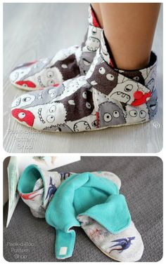 Slippers to sew for the whole family from newborn to adult. Sew your own fleece or flannel bootie slippers for the whole family. Sewing pattern for slippers. Source by sewmodernbags Look clothes Beginner Sewing Patterns, Sewing Basics, Free Sewing, Pattern Sewing, Sewing Paterns, Corset Pattern, Sewing Patterns For Kids, Hand Sewing, Sewing Slippers