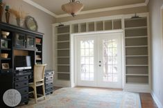 DIY Billy Bookcase Built Ins - IKEA Hackers - do this in LR? add window seat on the left?