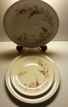 Noritake Orient Kiseto Versatone 2 Dinner & 1 Salad Plate Floral Cream Asian #NoritakeVersatone