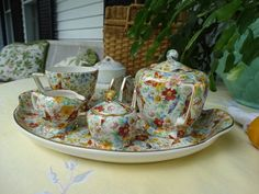 """Wade English Chintz Set """"Butterfly"""" Pattern Tea and Toast For One. Oh To Be in England! by HomecomingDiningRoom on Etsy Vicars, Breakfast Set, Butterfly Pattern, Tea Set, Tea Party, Tea Cups, Porcelain, England, Dishes"""