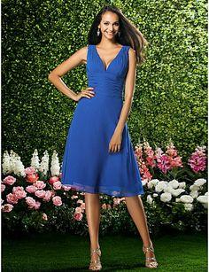 e20bc72afa Knee-length Chiffon Bridesmaid Dress - Ruby   Grape   Royal Blue    Champagne Plus Sizes   Petite A-line V-neck